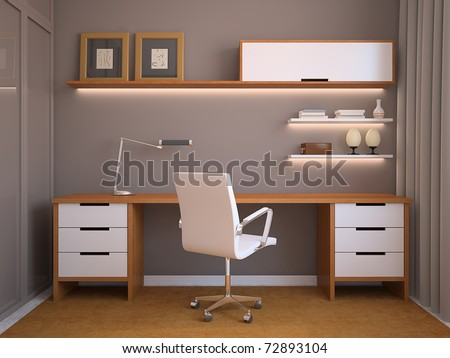 Modern office interior. 3d render - stock photo