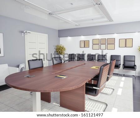 modern office interior (3D rendering) - stock photo