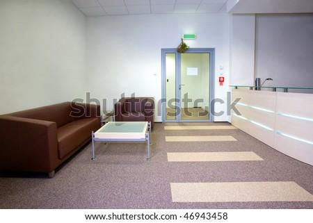 Modern office interior - reception area - stock photo