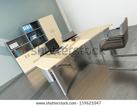 Modern office interior with desk - stock photo