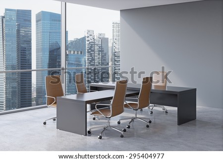 Modern office interior with huge windows and skyscraper panoramic view. Brown leather on the chairs and a black table. A concept of CEO workplace. 3D rendering. - stock photo