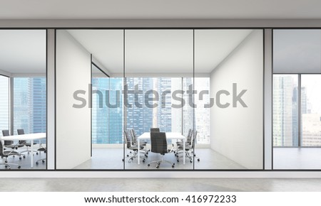 Modern office interior with Singapore city view. 3D Rendering - stock photo