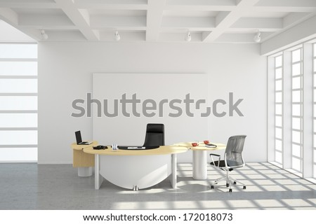 Modern office loft style with big windows - stock photo