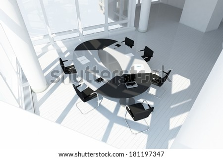 Modern office loft top view with meeting setup - stock photo