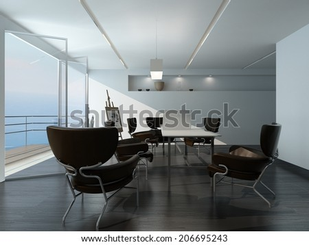 Modern office meeting room interior with stylish contemporary armchairs around a table, easel in the corner and large view window overlooking the sea - stock photo