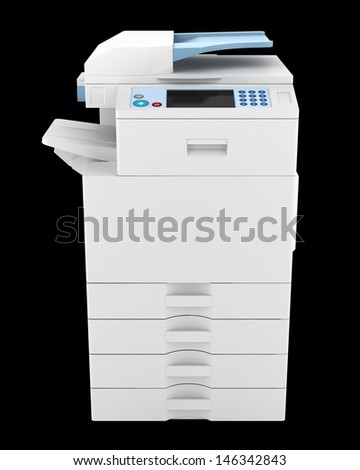 modern office multifunction printer isolated on black background - stock photo