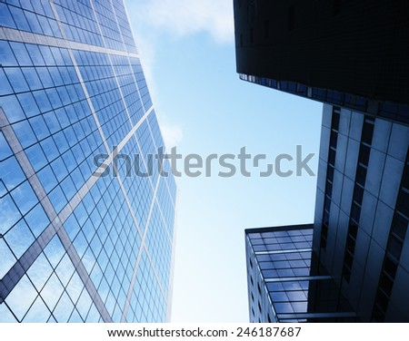 Modern office with glass facade. - stock photo