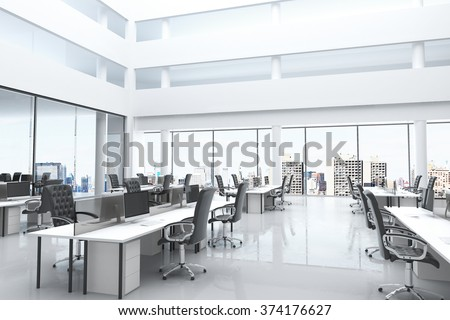 Modern office with open space and large windows 3D Render - stock photo