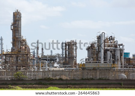 modern oil refinery exterior view - stock photo