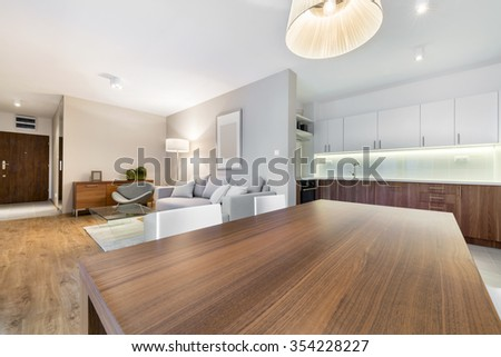 Modern open space living room with kitchen - stock photo
