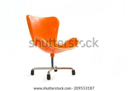 modern orange chair isolated on white background.  - stock photo