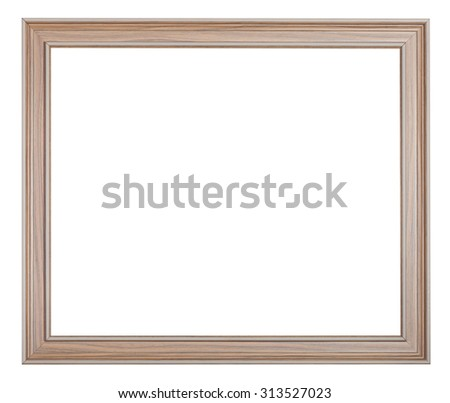 modern painted wooden picture frame with cut out blank space isolated on white background - stock photo
