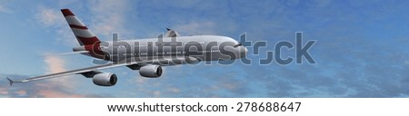 Modern Passenger airplane in flight - stock photo