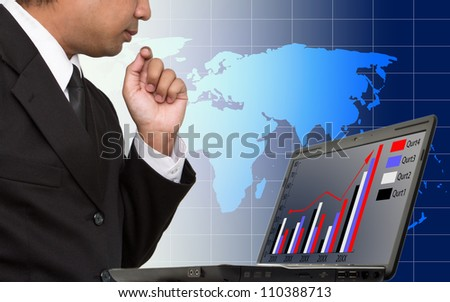 Modern people doing business, graphs and charts - stock photo