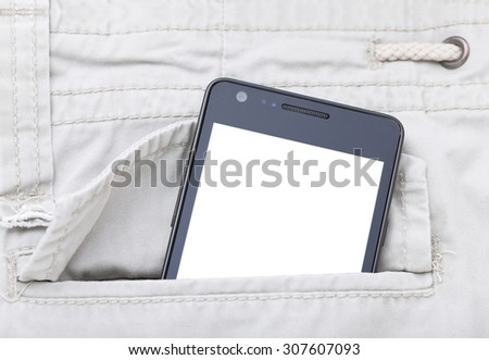 Modern phone in jeans pocket displaying white screen application. - stock photo
