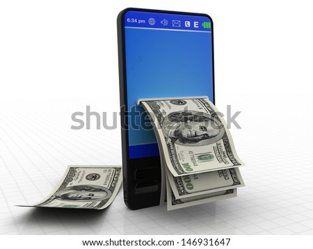 Modern phone with dollars isolated on a white background - stock photo