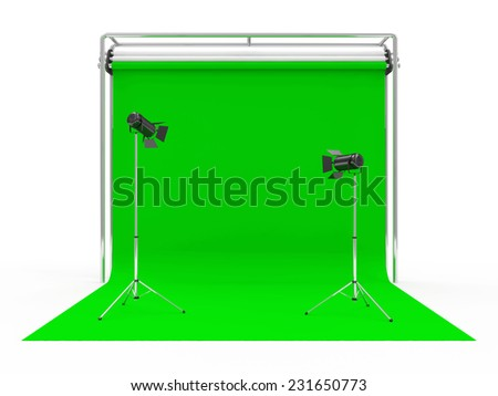 Modern Photo Studio with Green Screen and Light Equipment isolated on white background - stock photo