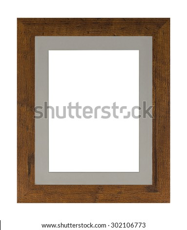 Modern picture frame made of oak with ivory insert, isolated on a white background. - stock photo