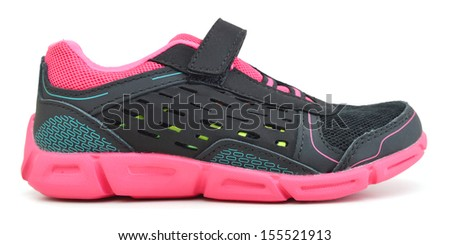 modern pinky sport shoes on white background  - stock photo