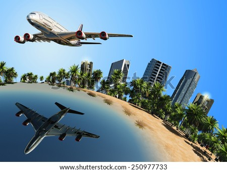 Modern plane in the lake on the globe. - stock photo