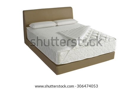 Modern platform bed with mattress and pillow - stock photo