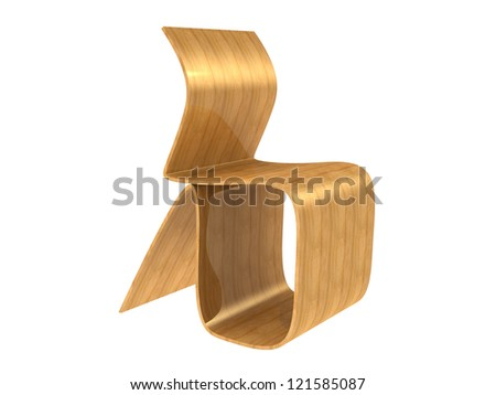 Modern Plywood Chair isolated on a white background - stock photo