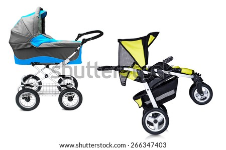 modern prams isolated against a white background - stock photo