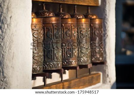 Modern prayer wheel - stock photo