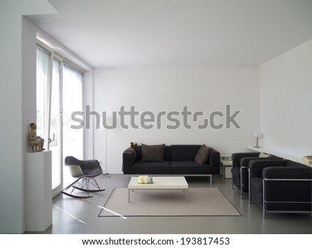 modern private living room with copy space for your own images - stock photo