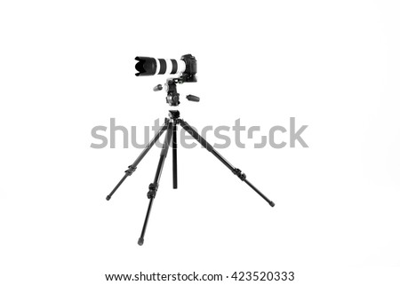 modern professional camera on tripod on white background - stock photo