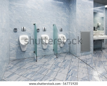 Modern public wc. Bright white and blue colors. - stock photo