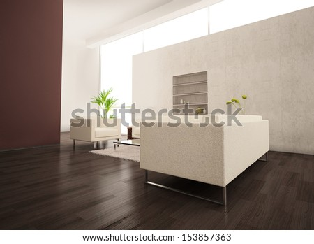 Modern puristic light living room with white furniture - stock photo