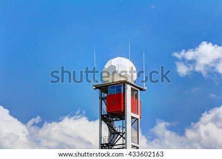 Modern radar tower of Dresden International airport, Germany - stock photo