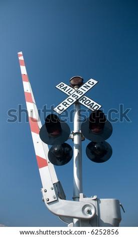 modern railroad crossing sign - stock photo
