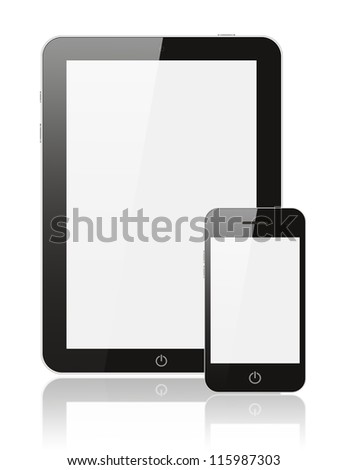Modern realistic digital tablet PC with smart phone on white background - stock photo