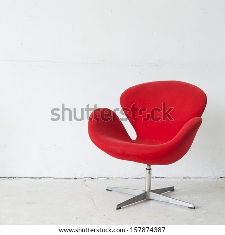 modern red chair - stock photo