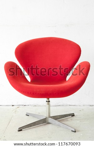 modern red Chair contemporary style in vintage room - stock photo