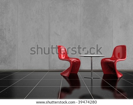 Modern red chairs on a shiny black stone floor - stock photo