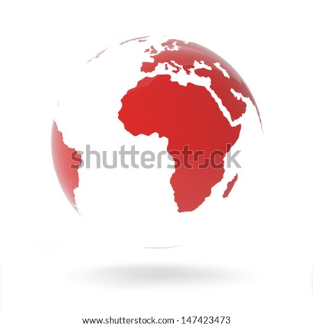 Modern Red Globe Isolated on White Background - stock photo