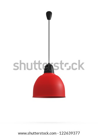 Modern red hanging lamp, isolated on white background. - stock photo