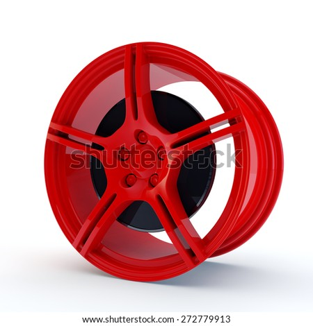 modern red rim with a brake disk - stock photo