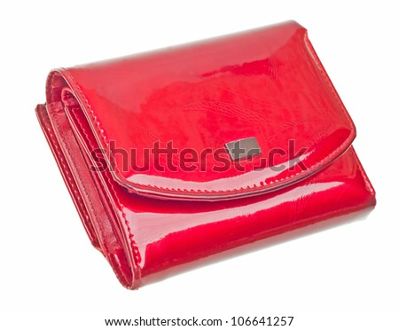 Modern red wallet isolated on white background - stock photo