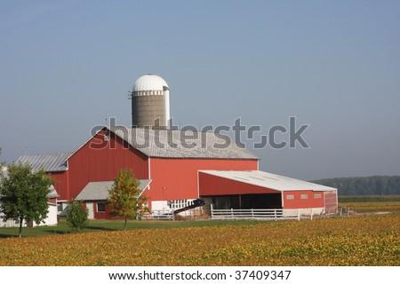 modern red Wisconsin farm - stock photo