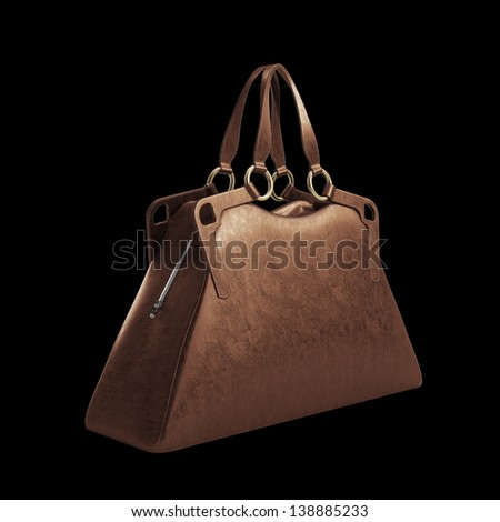 Modern Red women bag isolated on black background - stock photo
