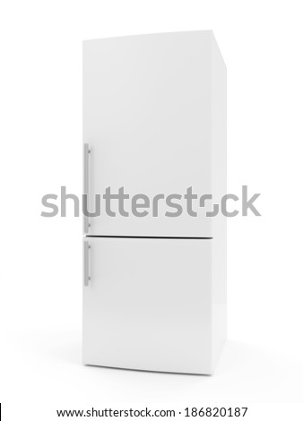 Modern Refrigerator isolated on white background - stock photo