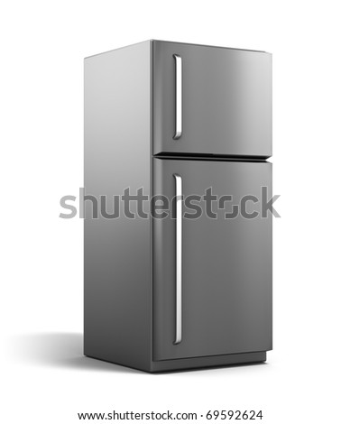 Modern refrigerator isolated on white. My own design - stock photo