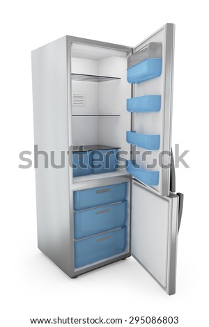 modern refrigerator with open doors on a white background - stock photo