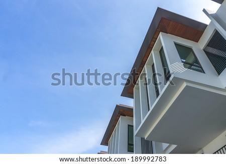 Modern Resident House with blue skies background - stock photo