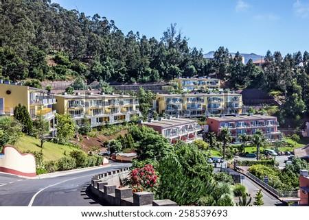 Modern resort hotel, Madeira island, Portugal - stock photo
