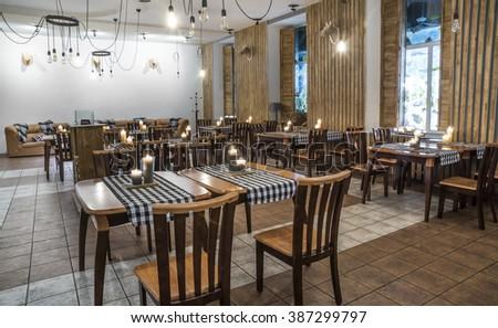 Modern restaurant  interior design in Kiev, Ukraine, january 31, 2016 - stock photo